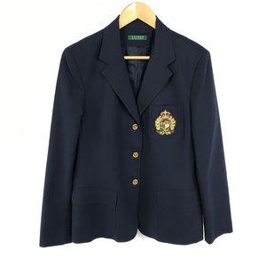 Lauren Ralph Lauren Crest Blazer Navy Gold 3222